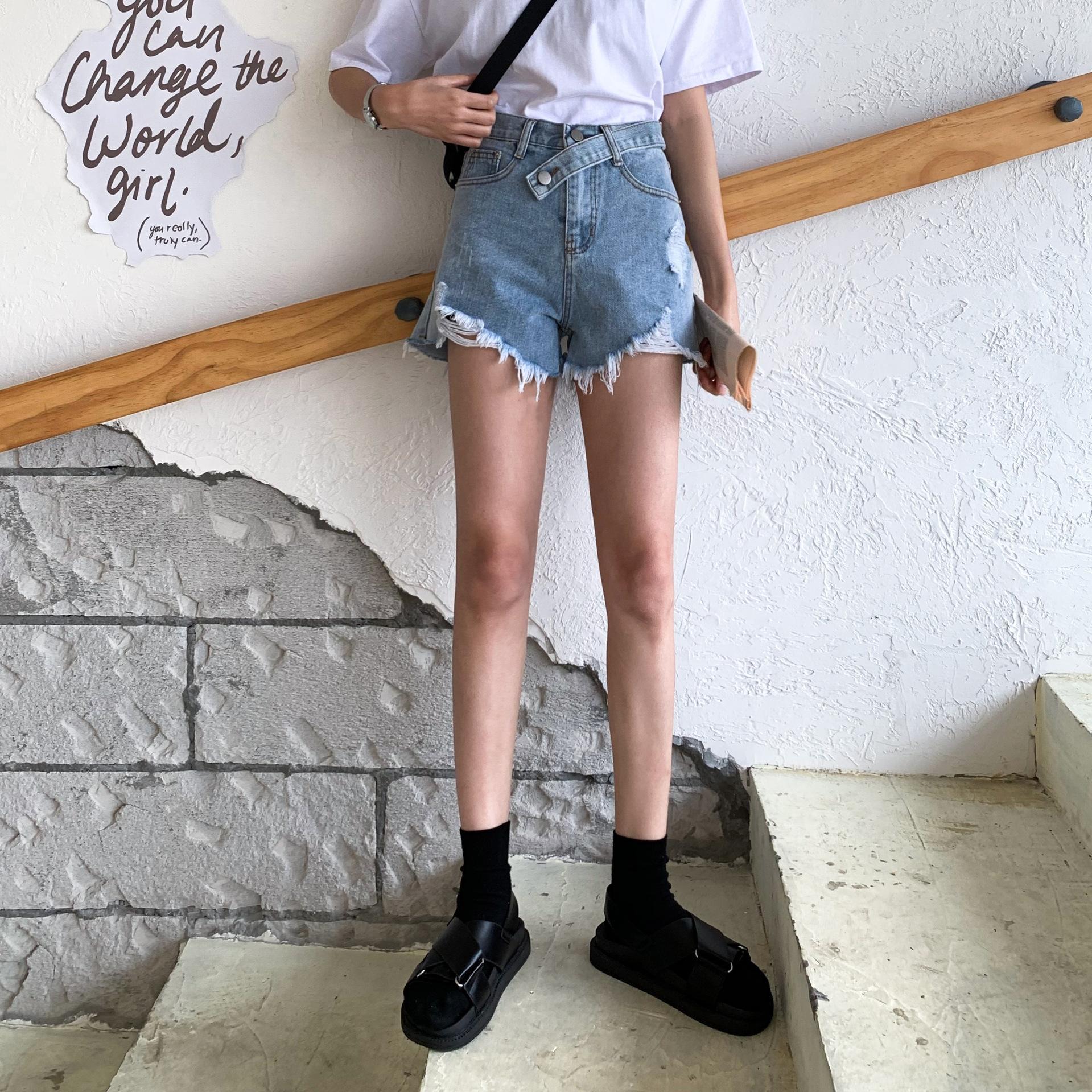 2020 nova grande tamanho shorts jeans irmã de gordura das mulheres Shorts New cintura alta pantshot quente calças calças buracos