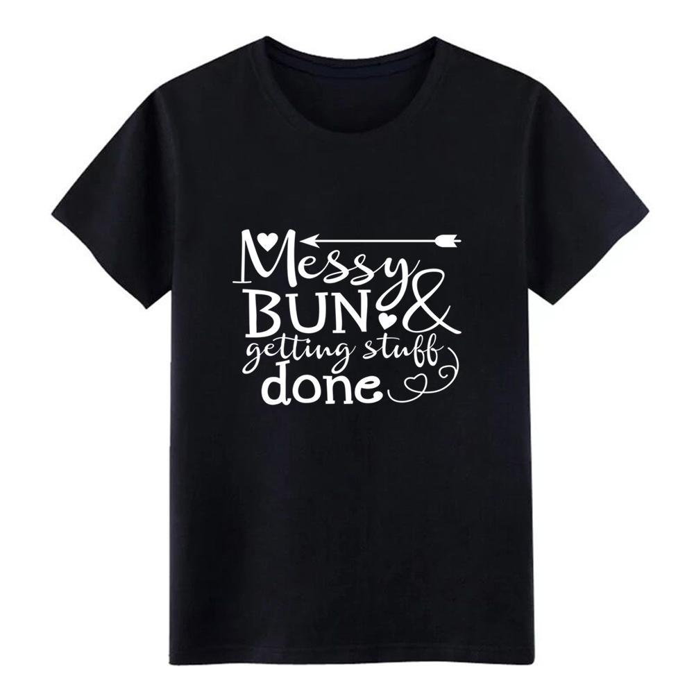 Los hombres amp conseguir cosas hecho diseñador de la camiseta de manga corta caballeros del O-Cuello Messy Bun camisa anti-arrugas cómico de la primavera otoño