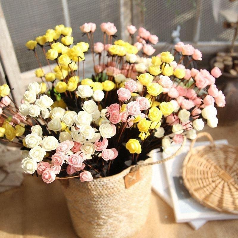 5pcs / lot tamanho pequeno Rose Artificial PE Grupo francês Rose Bouquet falsificação flor Organizar Festa de casamento Tabela Decor Acessório 58zQ #