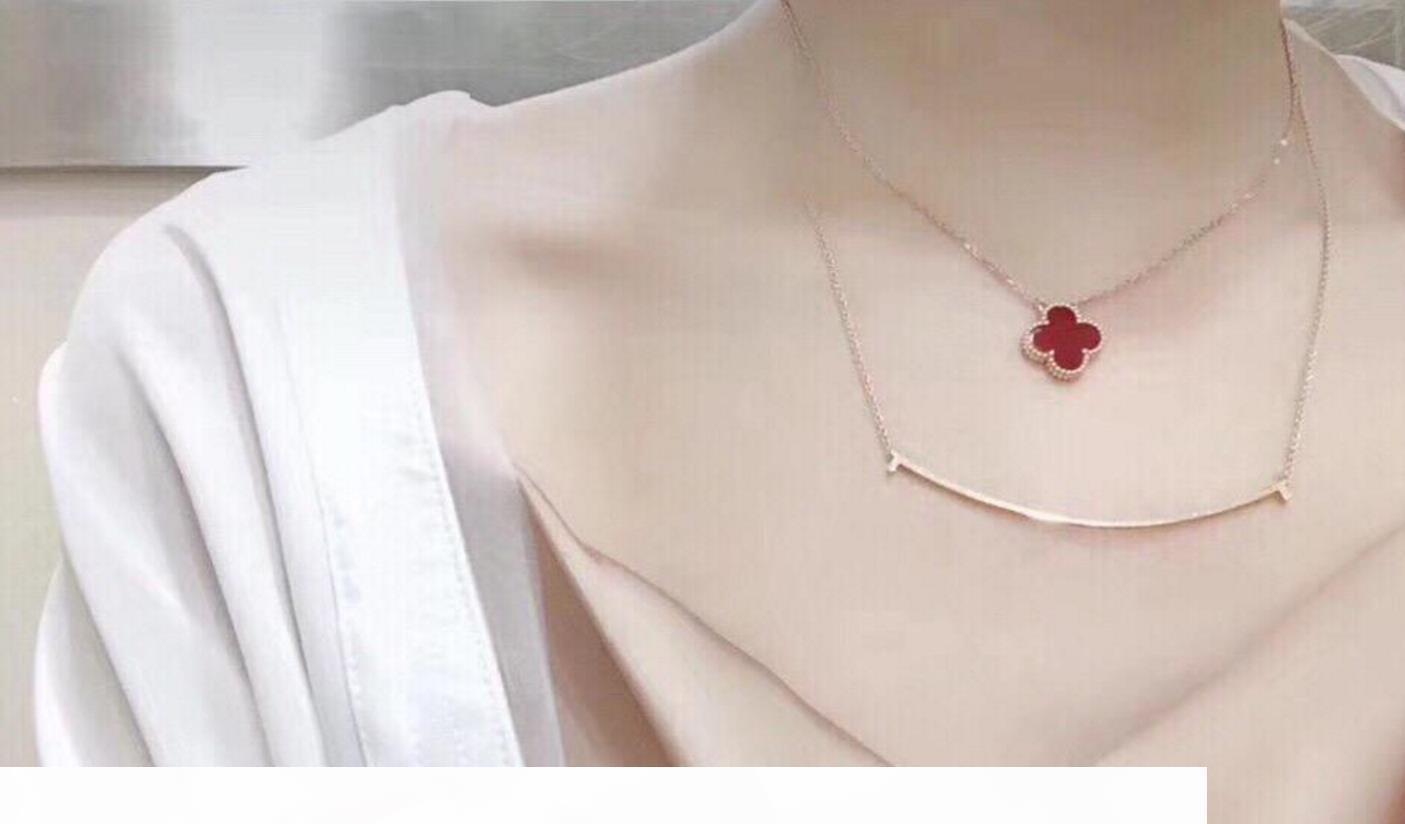 P Ha Francobolli popolare dell'acciaio inossidabile di modo oro sorriso monili della collana di nozze gli amanti della Regalo Bijoux Per le donne la signora Party Design For Br