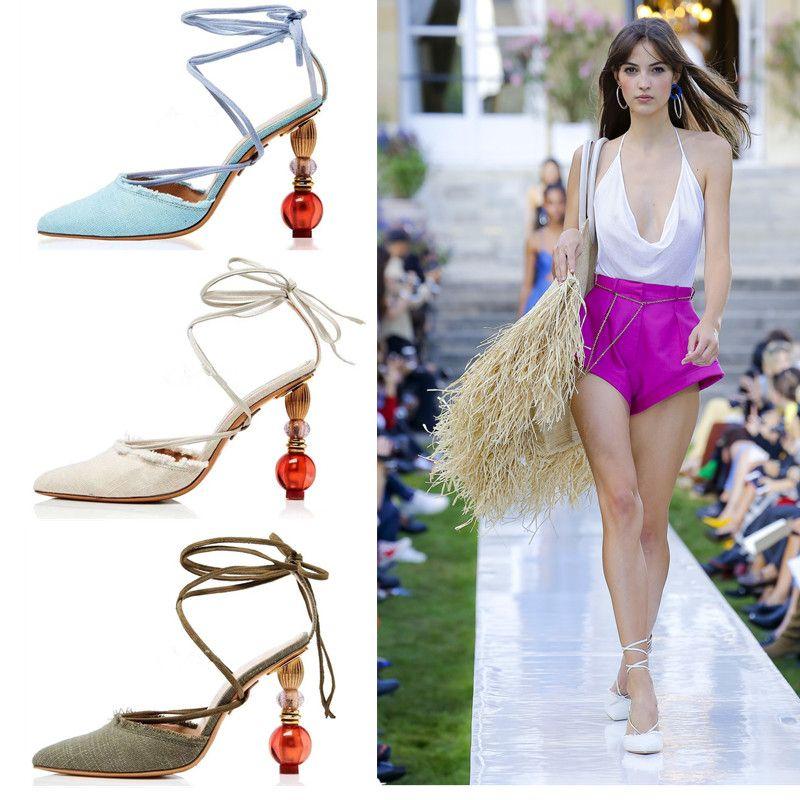 Salto moda geométricas Mulheres Gladiator Sandals Verão Denim Mulher Slingbacks Bombas sapatos Plus Size Wedding Party Up Lace