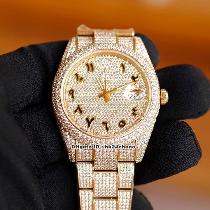 3 Stil 41mm Tarih Tüm Diamonds ETA2824 Otomatik Erkek İzle 126300 126301 126303 Elmas Arapça Dial Pırlanta 18 K Altın Bilezik Gents Saatler
