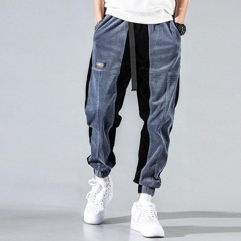Mode Streetwear Hommes Jeans Loose Fit épissé Casual Corduroy Cargo Pants Sarouel japonais Hip Hop Pantalons Jogger P36B #