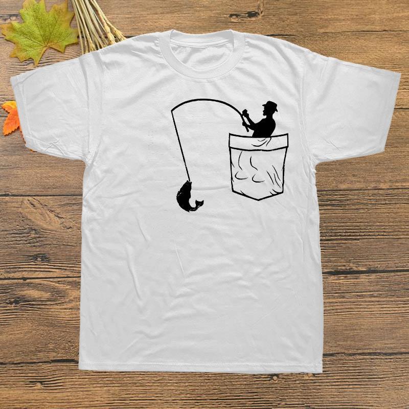 Neue Marken-T-Shirt Männer Short Sleeve Coole Taschen Fishinger Vatertags-Geschenk Fischer-T-Shirts Designs Männer Lustig