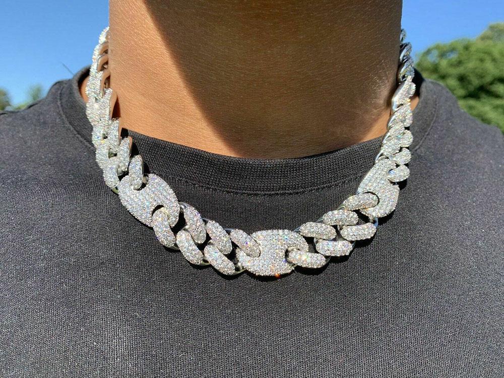 Collar de cadena de diamante enlace de diamante de 20 mm Cubano Cubano Cuba de diamante 14K Joyería de Zirconia cúbica chapada en oro blanco 16Inch-24 pulgadas Mariner Cadena cubana