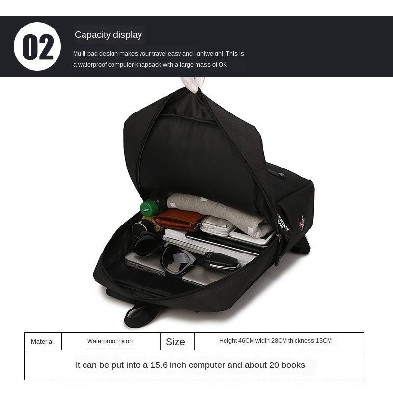 Laptop borsa del computer del computer portatile da 15.6 pollici da uomo zaino impermeabile affari zaino borsa coreana studente