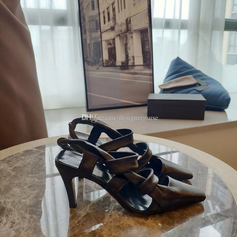 الصنادل مصمم أشار اصبع القدم نساء صندل POINT Slingback المرأة الأزياء والأحذية الفاخرة Slingback البغال مصمم الكعب العالي الأشرطة الصنادل