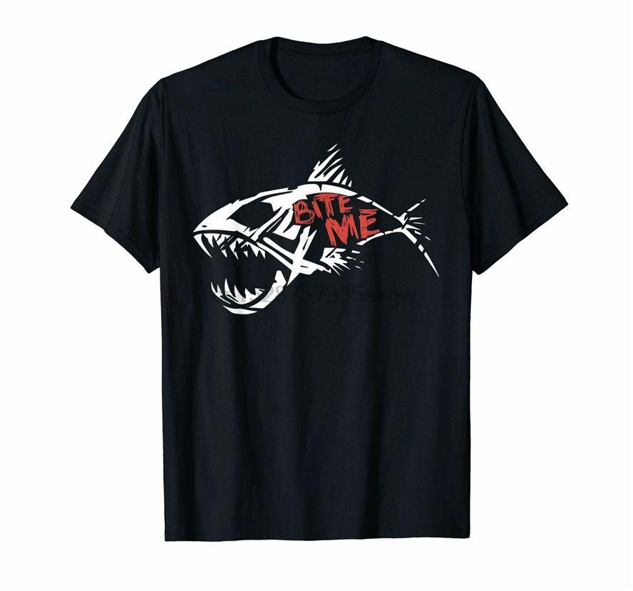 Bite Me shirt squalo divertente T-shirt Pesca Fitness Tee Shirt