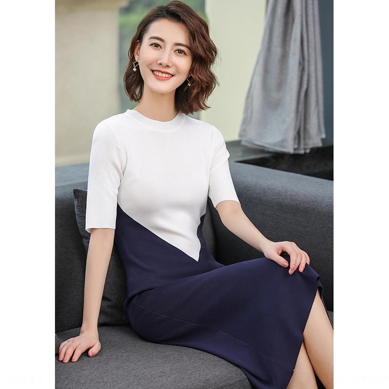 Sed84 AI Garngestaltungseinheit-kurz lang abnehmen Hülse mittellangen Kleid Kleidungsstil Leinen passender Taillenrock Eisfarbe gestrickt