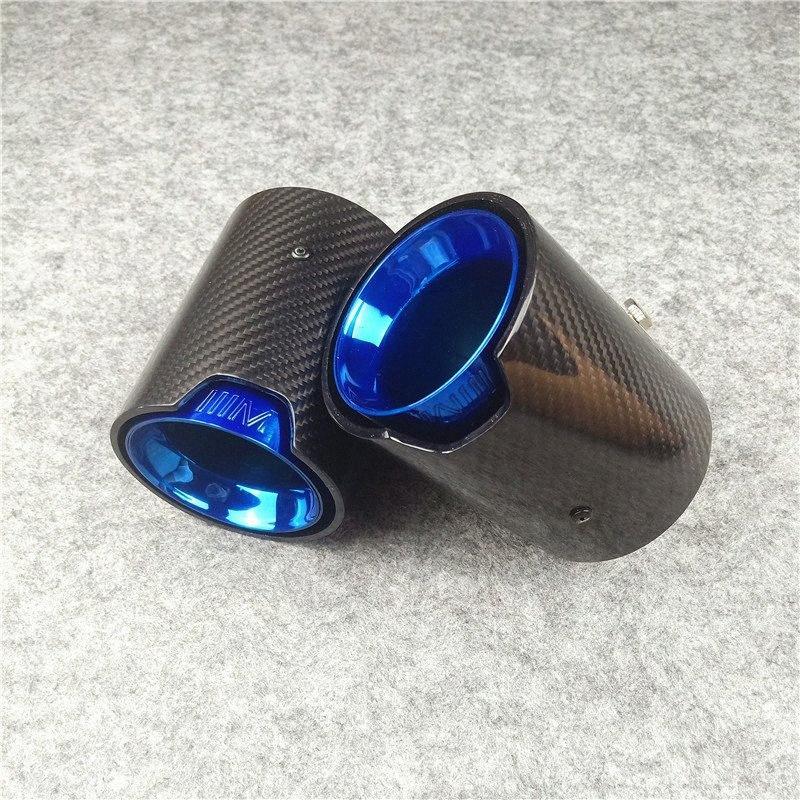 1 PCS Full Carbon + Blau Düsen Schwanz M Performance Exhaust Endrohre Für M1 M2 M3 M4 M5 M6 X3 X4 X5 X6 Auspuffblenden DT15 #