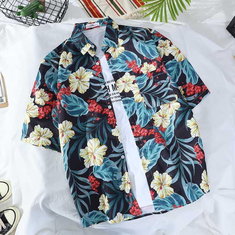 2020 neue Männer Pflanze Hawaiihemd Revers-Kurzschluss Hülsen-Knopf-Shirt Mode Jugend Printed lose beiläufige S-3XL