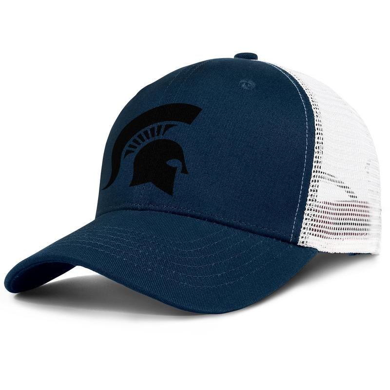 Michigan State Spartans futbol logosu erkek ve kadınlar ayarlanabilir kamyon şoförü meshcap özel donanımlı ekip moda baseballhats basketbol siyah