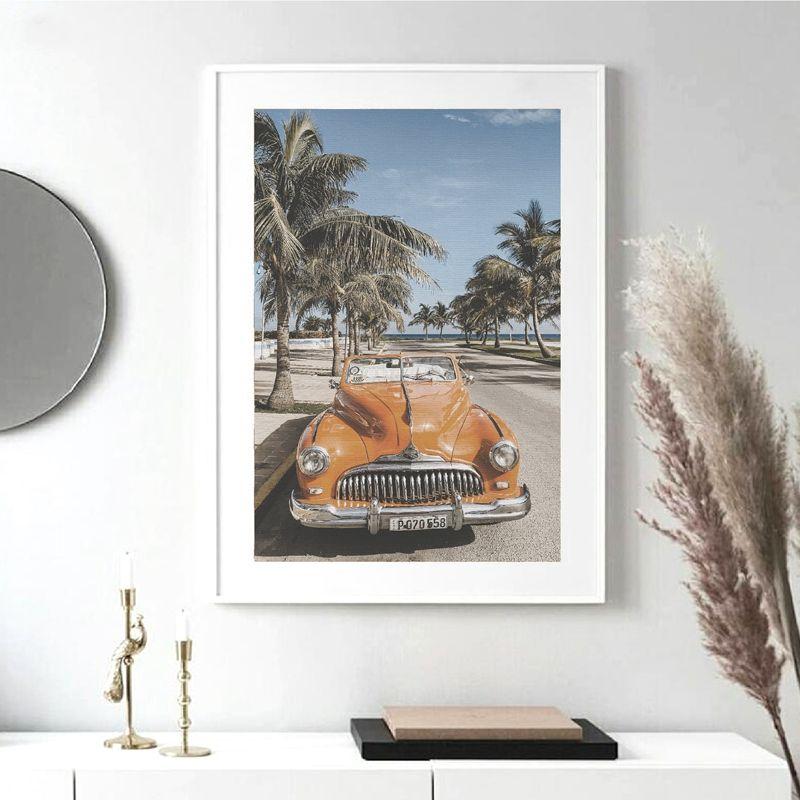 Beach Cuba Landscape Photography Poster Vintage Car Palm Tree Canvas Prints Beach Summer Feeling Wall Art Painting Home Decor