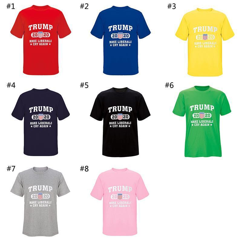 Trump 2020 T-shirt Make libéraux Cry Encore une fois col rond manches courtes unisexe Chemises Amérique Fournitures élection générale 8 Couleurs