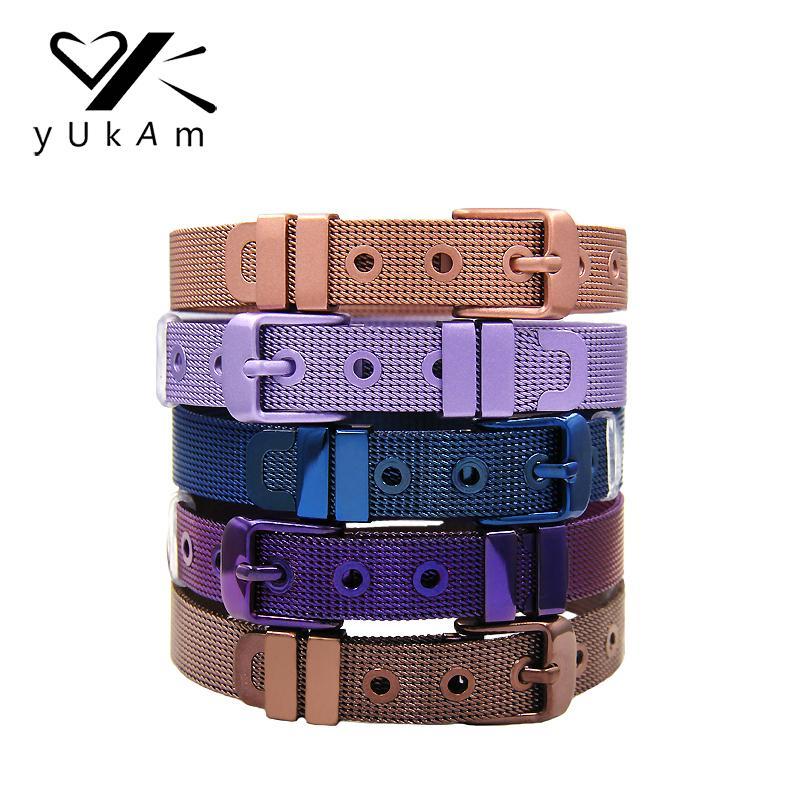 YUKAM femmes Déclaration en acier inoxydable Violet Café Rose Bleu lavande Mesh Keeper Bracelets pour Charms Slide Making Bricolage Bijoux