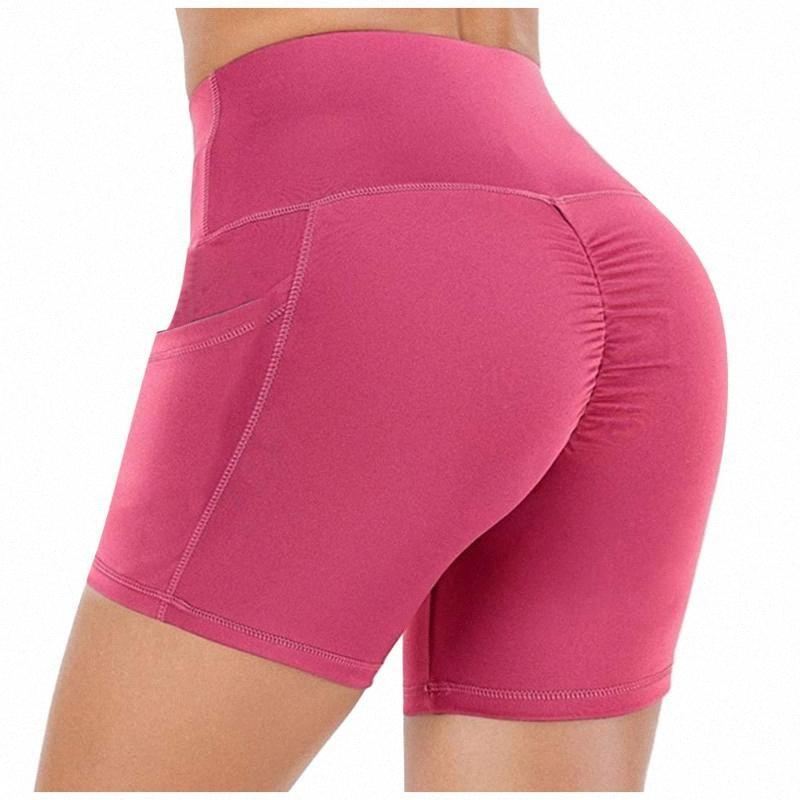 2020 2020 mujeres elásticos de cintura alta Out polainas delgadas Pantalones cortos de yoga Yoga Deportes Tight Leggings casual pantalones cortos Deportes # 35 # QxiF