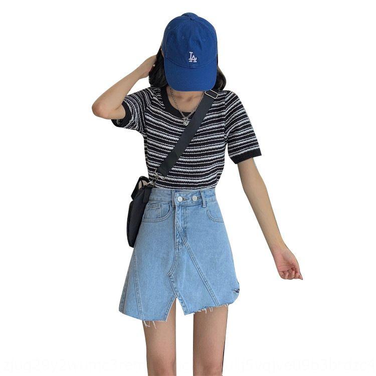 [Heenjun] A929 Sommer Kurz Denim ins Breath Hohe Taille schlank Jeansrock in Mode kurzen Rock Frauen mit Löchern