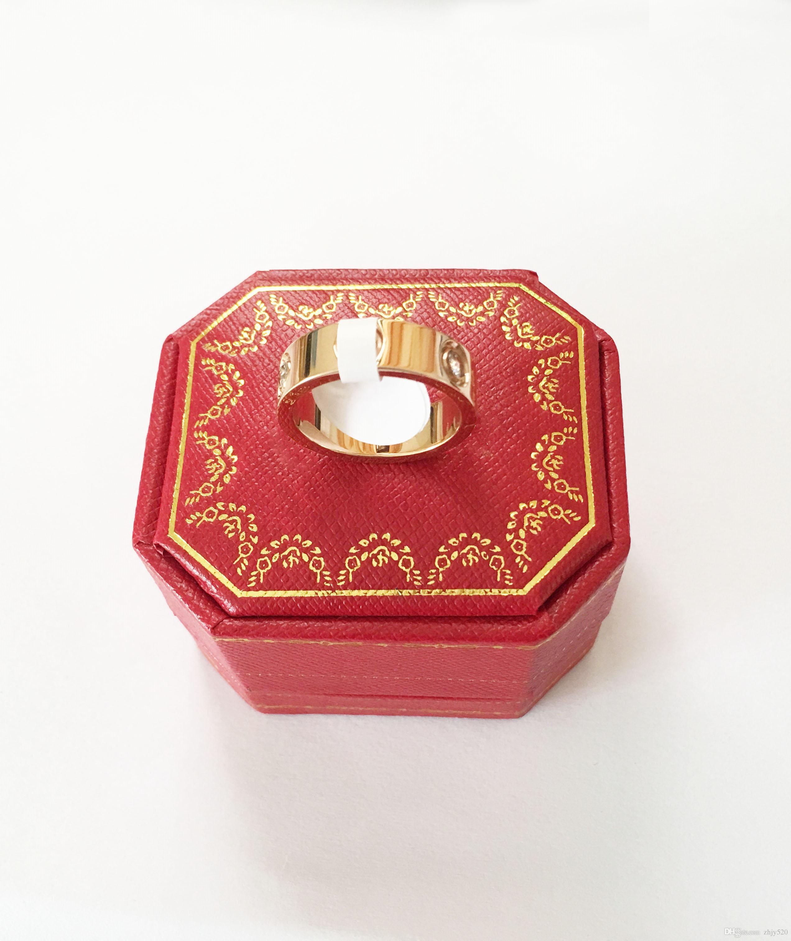 티타늄 스틸 실버 원래 상자 4mm 5mm의 연인 커플 링 골드 사랑 반지 장미