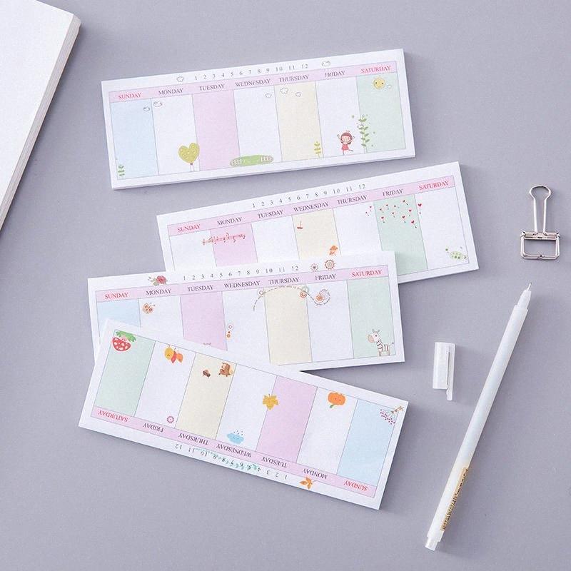 Coloffice creativo coreano semplice sveglio Memo Pad Message Note cancelleria Messaggio Sticky Note settimanale per ufficio di banco 1PC xYtL #