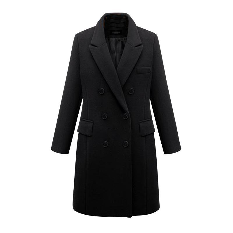 المرأة الصوف يمزج الخريف الشتاء زائد حجم خندق معطف أزياء متوسطة طويلة مزدوجة الصدر الصوف النساء فضفاض معطف