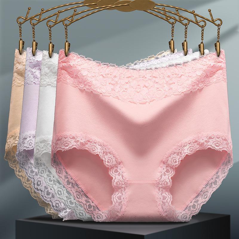 Lace donne sexy Plus Size mutandine della biancheria intima vita alta senza saldatura mutande di cotone Panty Hot femmina Slip L-XXL Belly Stretching