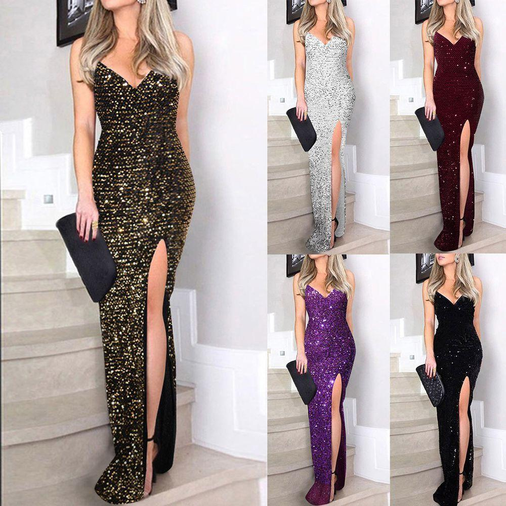Women Deep V Sequins Wrap Ruched Sleeveless Nightclub Party Dress