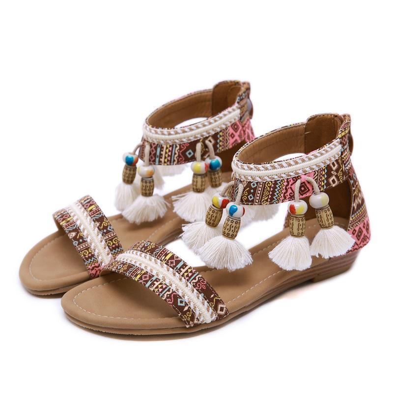 Sandales sur la nouvelle 2020 nationale féminine sandales Bohême houppe transfrontalière à Roman un engage