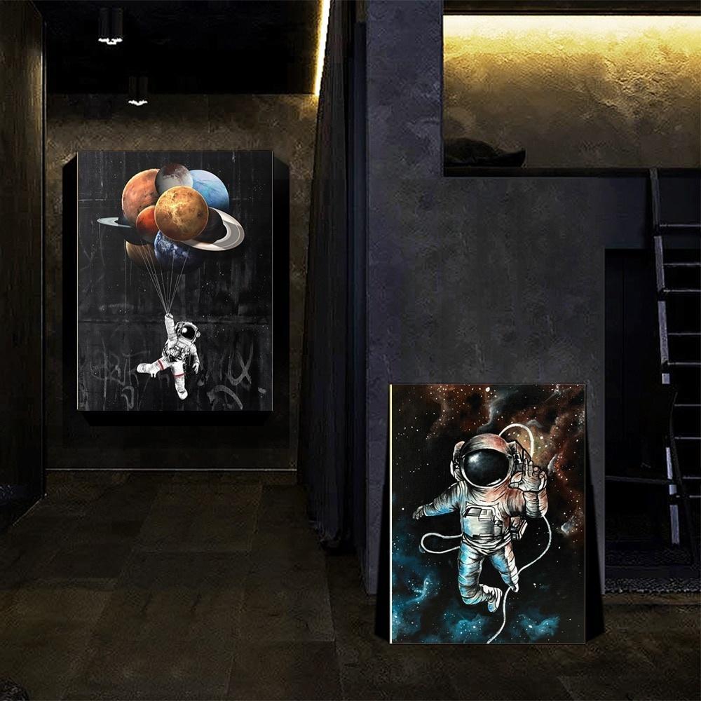 Kis Odası Ev Dekorasyonu için Modern Karikatür Şekil Poster Baskılar Wall Art Resimler Boyama Yaratıcı Uzay Astronot Dreaming Yıldız Tuval
