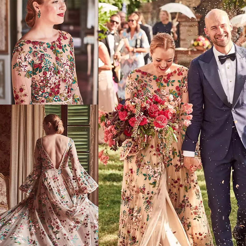 2021 Красочные свадебные платья с длинными рукавами Кружевные аппликации свадебные платья для свадебных платьев Изготовленные на заказ поезда без спинки Плюс размер A-Line Свадебное платье