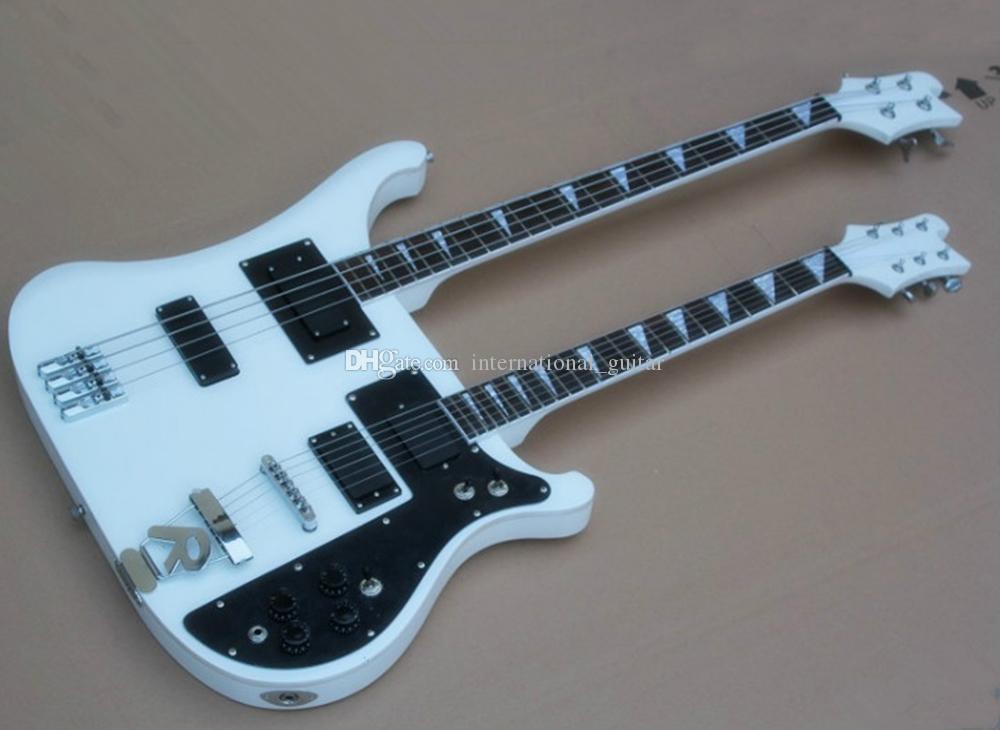 Fábrica blanca 4 + 6 cuerdas de doble cuello guitarra eléctrica Ricken al por mayor con golpeador negro, diapasón de palo de rosa, Se puede personalizar