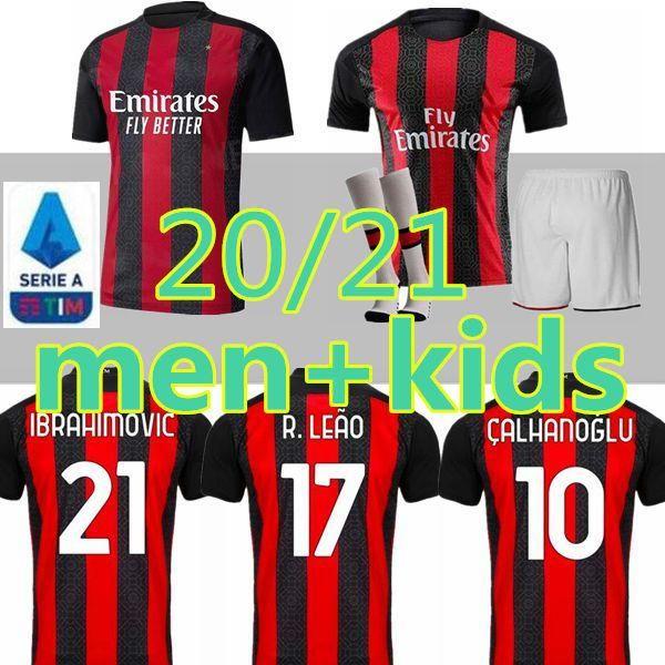 Les nouveaux hommes 20 enfants 21 maillot de football AC Milan 2020 2021 IBRAHIMOVIC Paqueta BENNACER REBIC maglia da calcio ROMAGNOLI shirt Calhanoglu de football