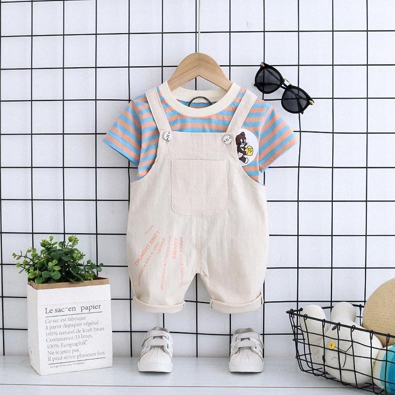 Roupa do bebé Verão Set terno listrado shirt + Roupa de duas peças para crianças equipamento da forma 12 3 4 anos de menino de manga curta NUC1 #
