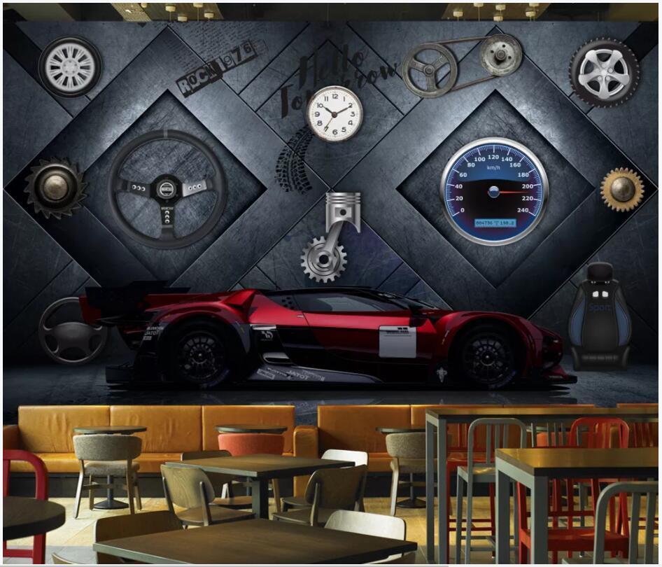 3d обоев на заказ фото настенной металла промышленных ветровых машин стали спортивного автомобилем домашнего декора гостиной обои фото для стен 3 д