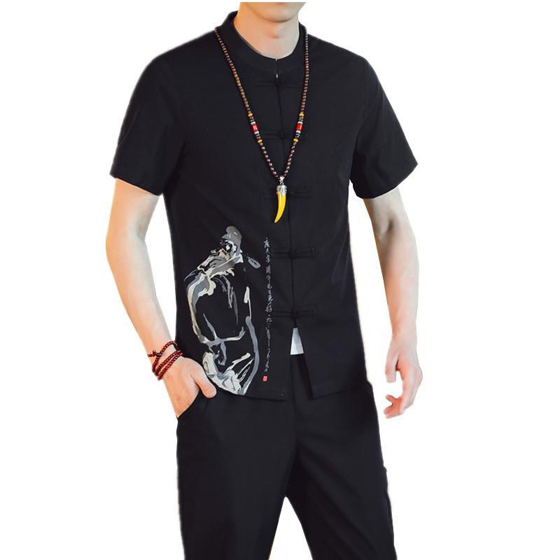2020 chemise pour hommes d'été manches courtes et pantalon cheville longueur grande taille hommes de style chinois jeu gris kaki en deux parties