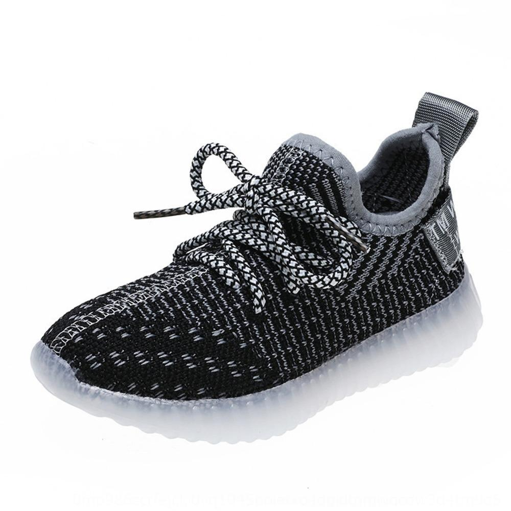sxKTc 2020 spring and summer new children's lighting sneakers flying woven led racecourse Coconut sneakers Sports sports shoes glowing flash