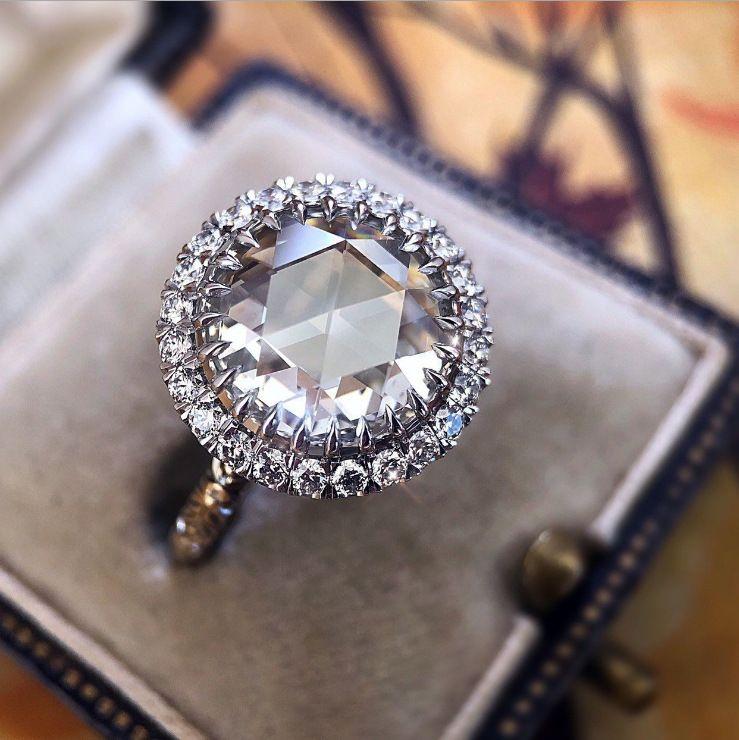 플래시 다이아몬드 반지 925 스털링 실버 빈티지 큰 다이아몬드 약혼 결혼 반지 발렌타인 데이 선물