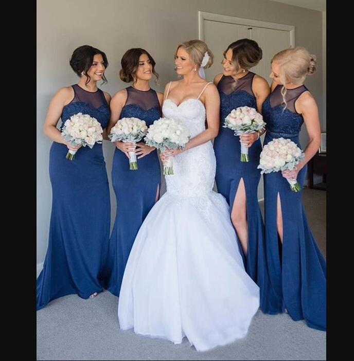 Zarif 2021 Mavi Gelinlik Modelleri Kılıf Aplike Üst Örgün Uzun Hizmetçi Onur Gelinlik Modelleri Bölünmüş Ön Parti Giyim