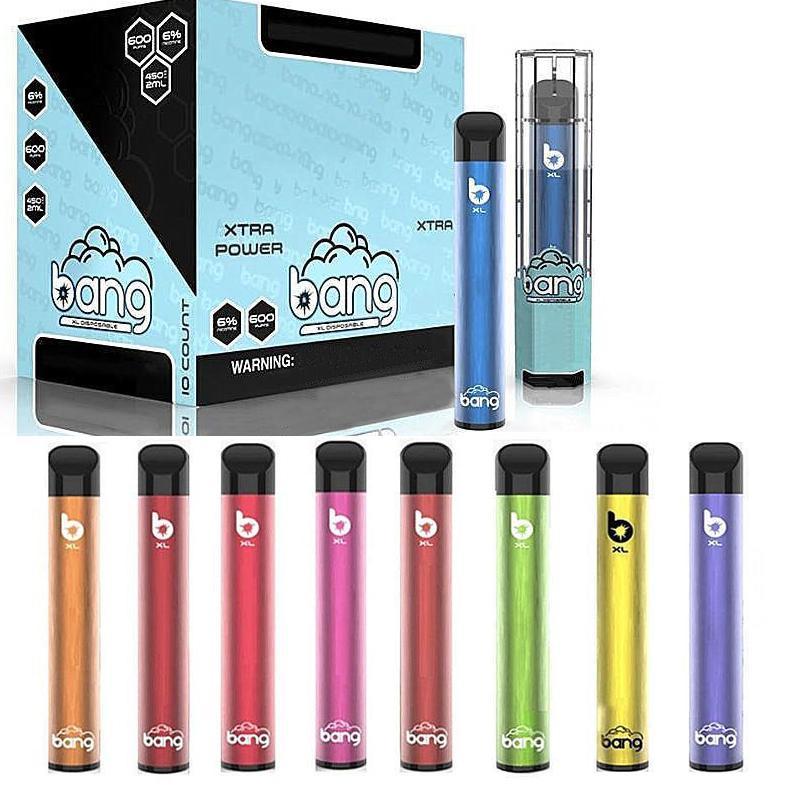 새로운 Bang XL 일회용 vape 펜 Xtra 파워 빈 2ml 카트리지 포드 450mAh 배터리 기화기 전자 담배 키트 바 플러스 증기 장치