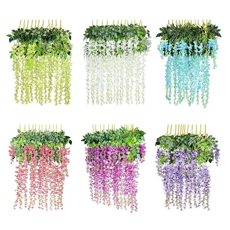 12pcs 108cm Artificial Flower Hanging Plant Silk Wisteria Fake Flowers Vine Rattan Wedding Decoration Home Garden Ornamental C18112601