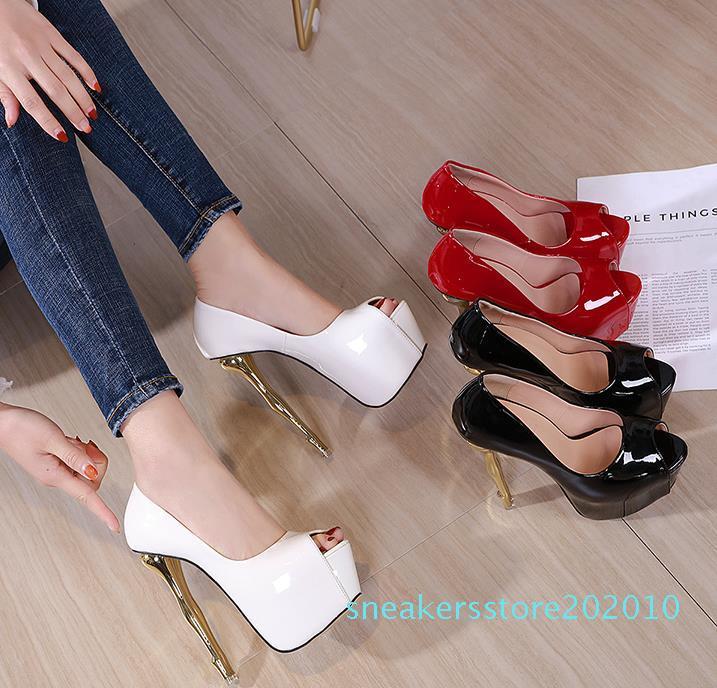 16 centimetri scarpe da sposa pompe lucido rosa bianca brevetto pompa pelle PU oro strani tacco piattaforma peep toe dimensioni 34-40 s10