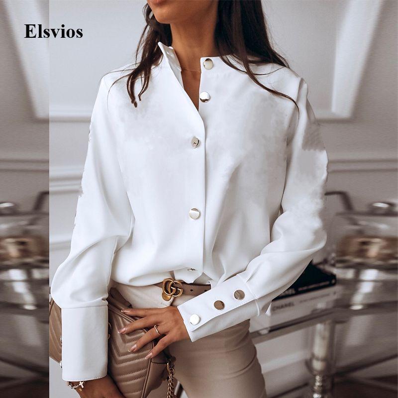 İlkbahar Sonbahar Ç Boyun Beyaz Bluz Gömlek Elegant Ofis Lady Geri Metal Düğmeler Casual Kadınlar Uzun Kollu blusa 3XL T200322 Tops bluzlar