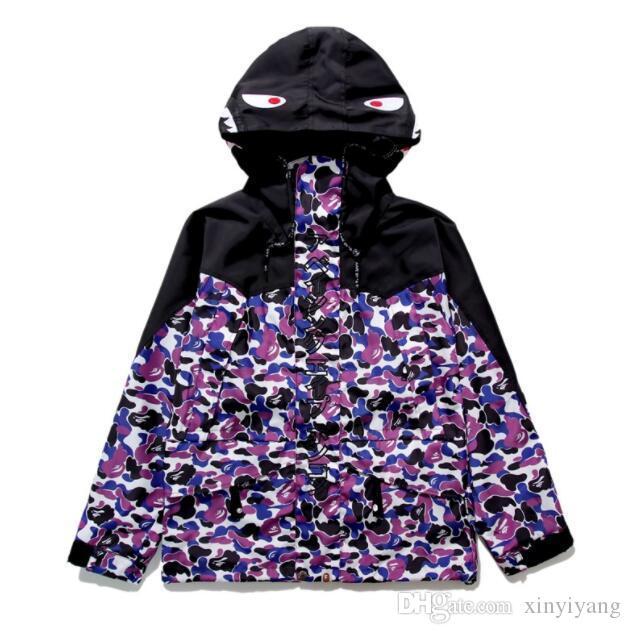 Autumn Winter Lover Black Purple Camo Splice Polyester Thin Windbreaker Jacket Men Women Sport Hip Hop Camo Jacket