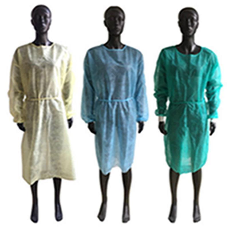 Tek İzolasyon Elbise PP dokunmamış Çalışma Giyim Dövme Toz Elbise Elbise İzolasyon koruyucu plastik önlük EEA1888