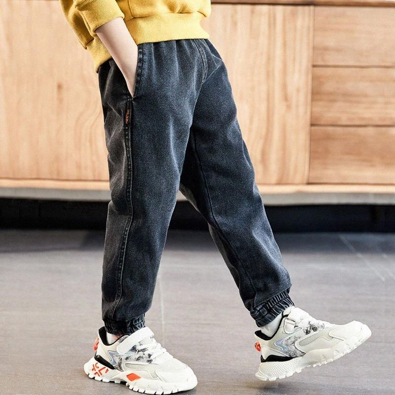 INS hot boys jeans 4-13 years old Cotton washed kids jeans Korean pants for baby boys kids plus velvet autumn and winter 3KdY#