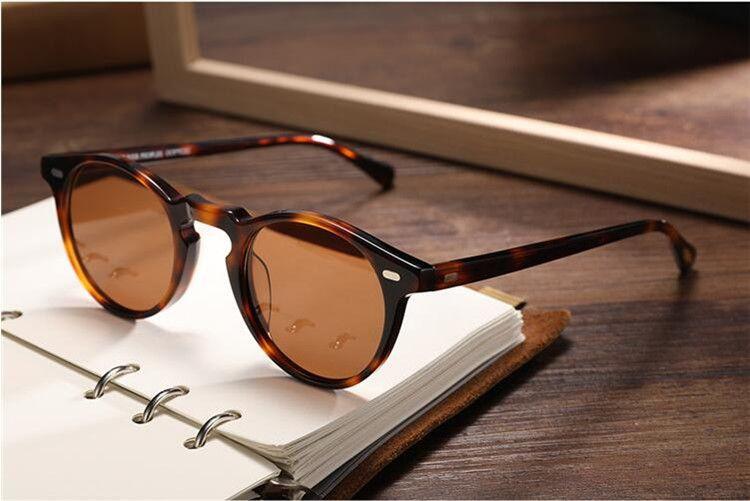 Caliente-venta de la vendimia Gregory Peck OV5186 ronda gafas de sol polarizadas UV400 lente HD 45-23-145 unisex ligera importada pura-tablón caso Set completo