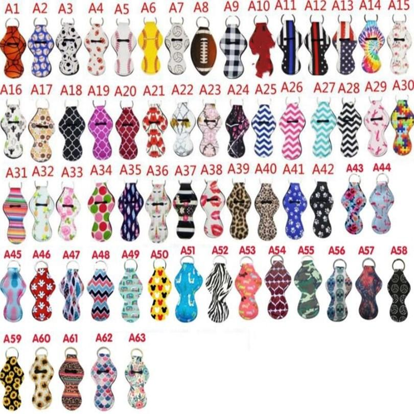 Chapstick détenteurs sport imprimés porte-clés Housse Keychain Wrap Rouge à lèvres Covers Party Favor couleur modelée 61 modèles LXL03Q-2