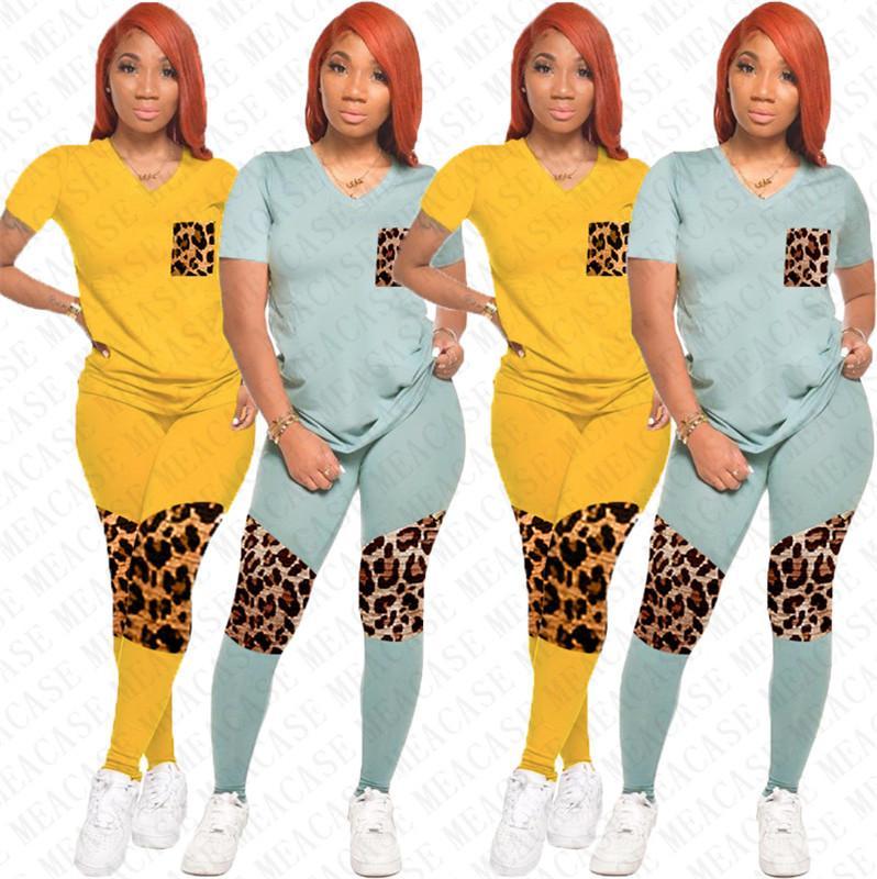 Женщины Два шт Набор Эпикировка Дизайнер Leopard Лоскутная Цвет печати V-образным вырезом с коротким рукавом рубашки Брюки Леггинсы Tracksuit Спортивный костюм D72702