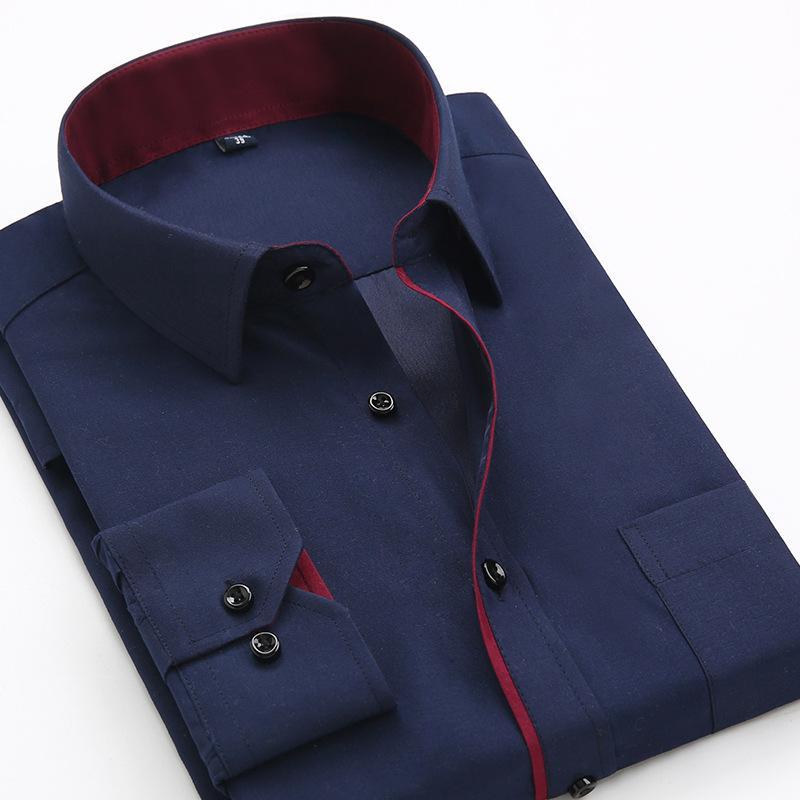 Qisha Nouveautés hommes casual manches longues chemise coréenne style homme robe formelle T-shirt Patchwork Bureau Blanc Marine Tops Chemisier m