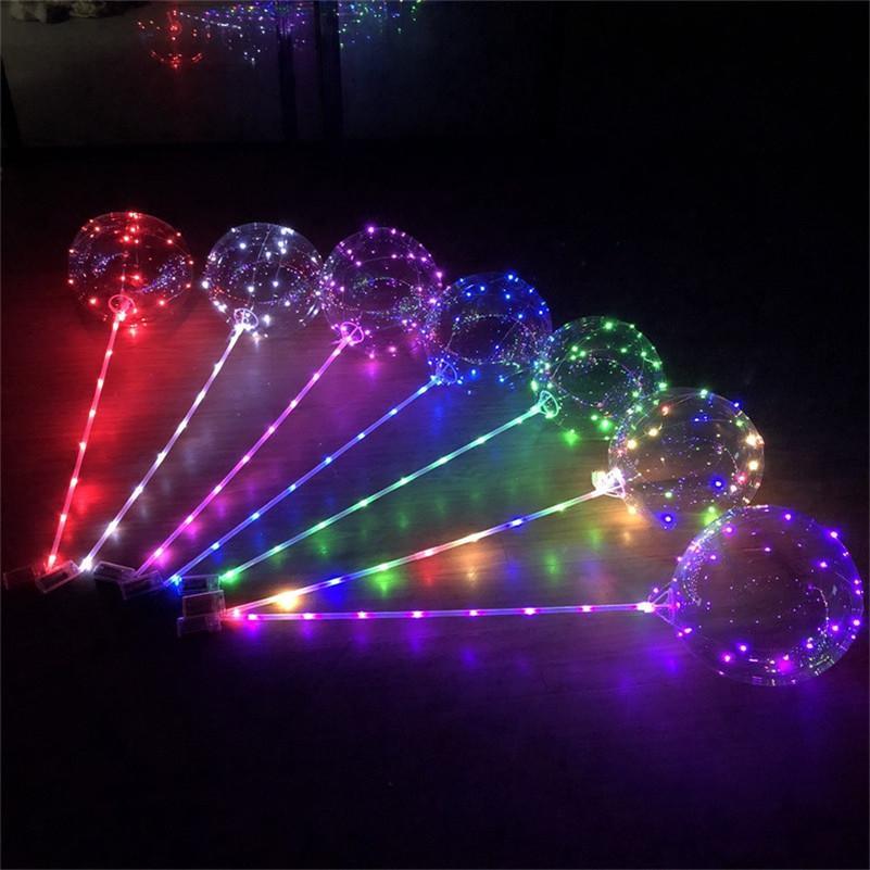 Globo LED Transparente Luminoso Iluminación Bobo Bobo Balloones con 80cm Poste 3M String Ballano Navidad Navidad Boda Decoraciones