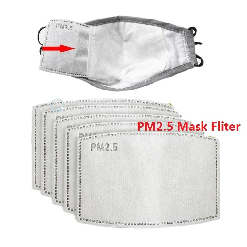 Filtre PM2,5 pour Masque Anti Haze Masque bouche Filtre Pad 5 couches Replaceable Activated Carbon Filter Masques Face